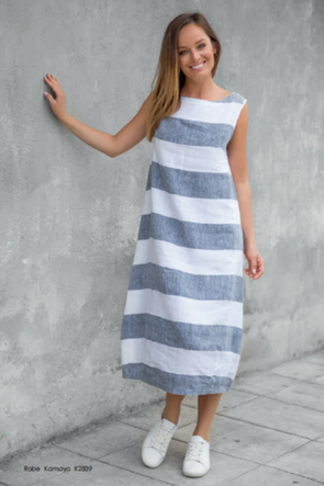 Kamaya Dress in White/Grey Stripe