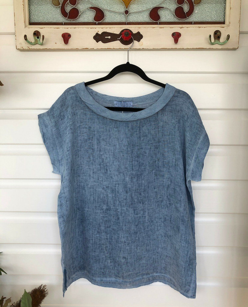 Linen Shirt Top in Blue