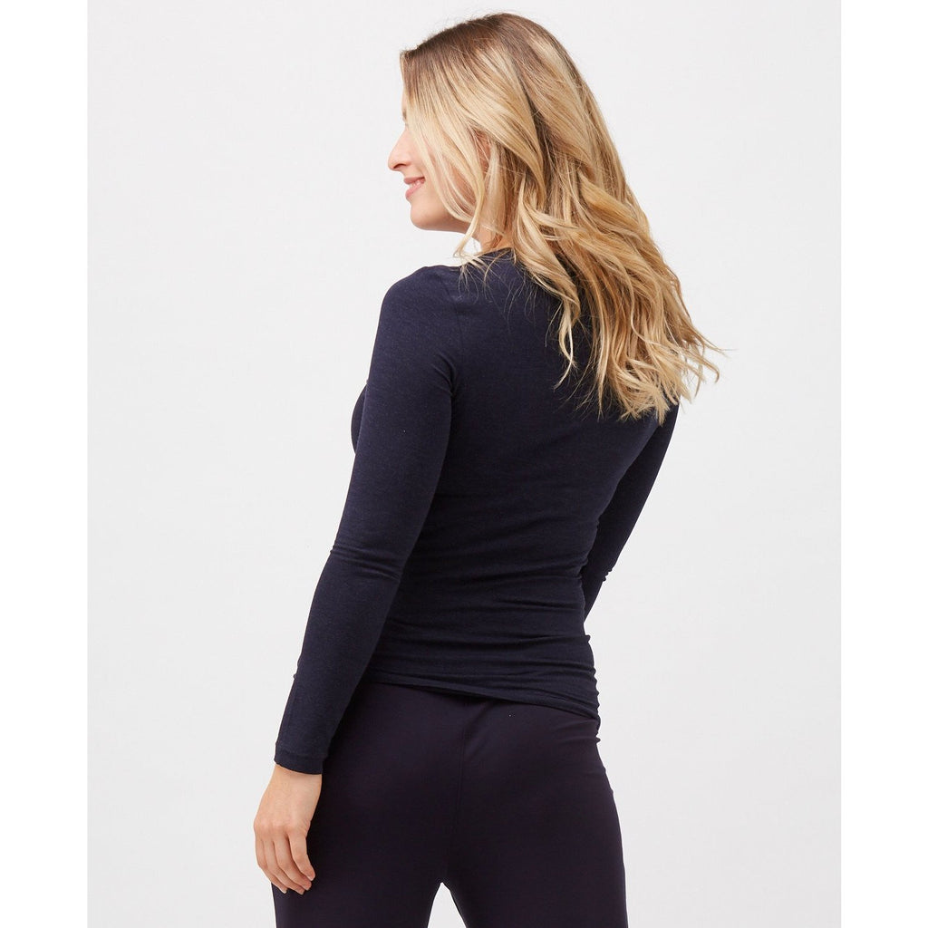 High Neck Long Sleeve Top in Midnight Marle
