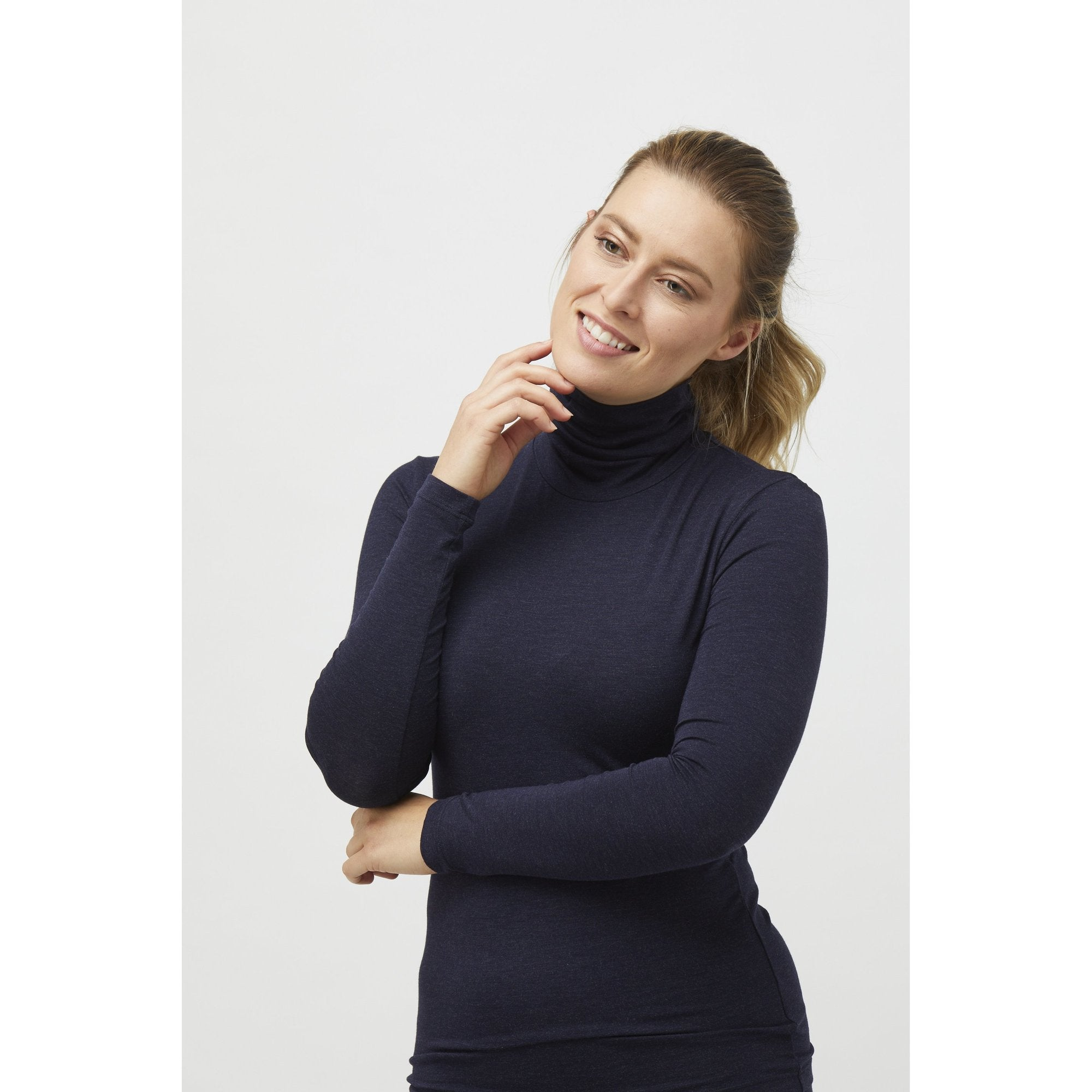 Turtle Neck Long Sleeve Top in Midnight Marle