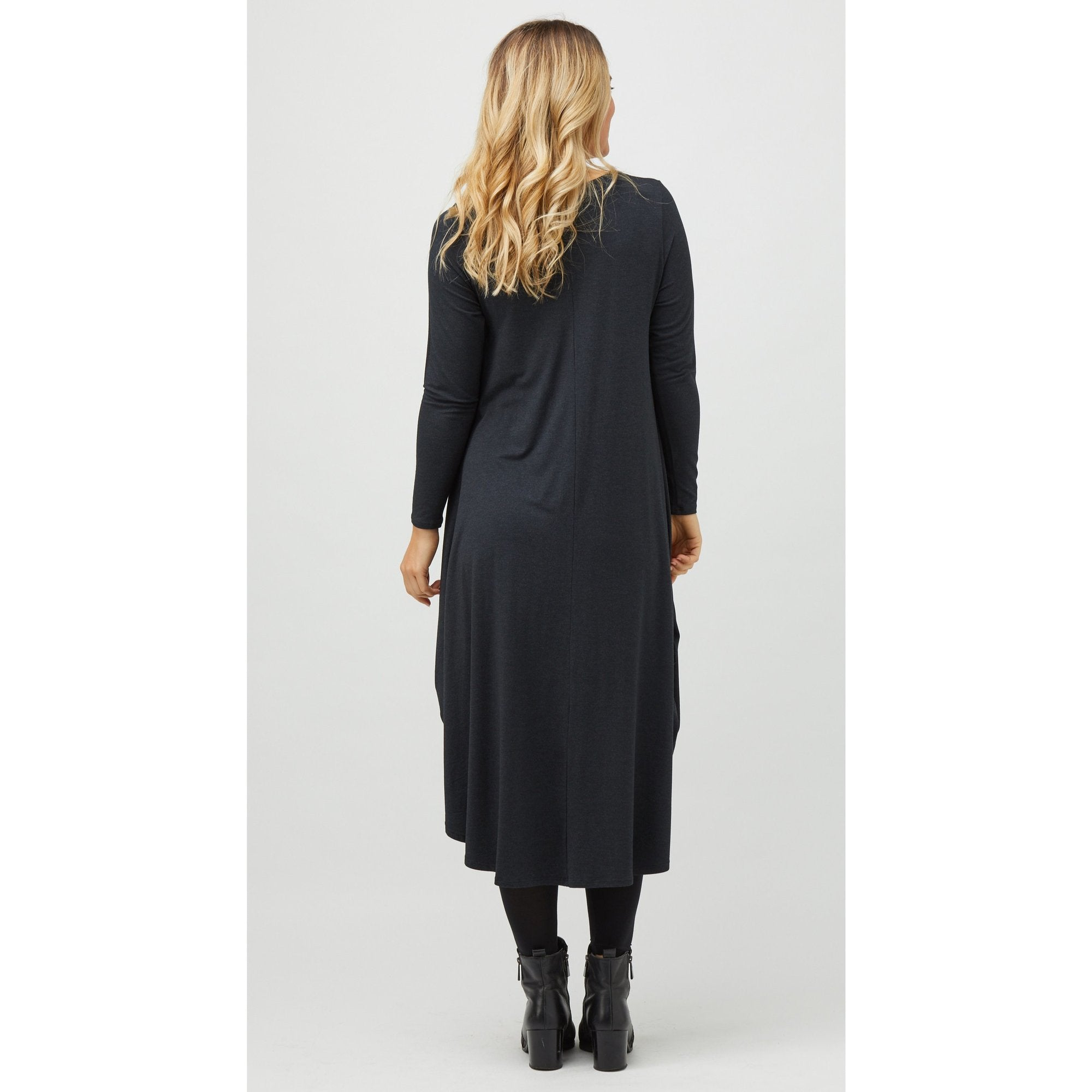 Long Sleeve Tri Dress in Graphite Melange