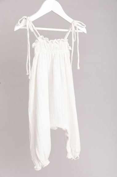 Mia Shirred Romper in White