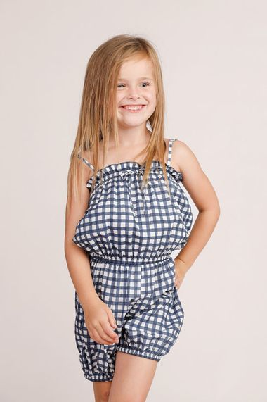 Penelope Playsuit in Blue Check