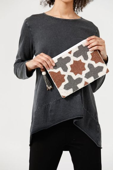 Aztec Beaded Clutch in Rust Multi