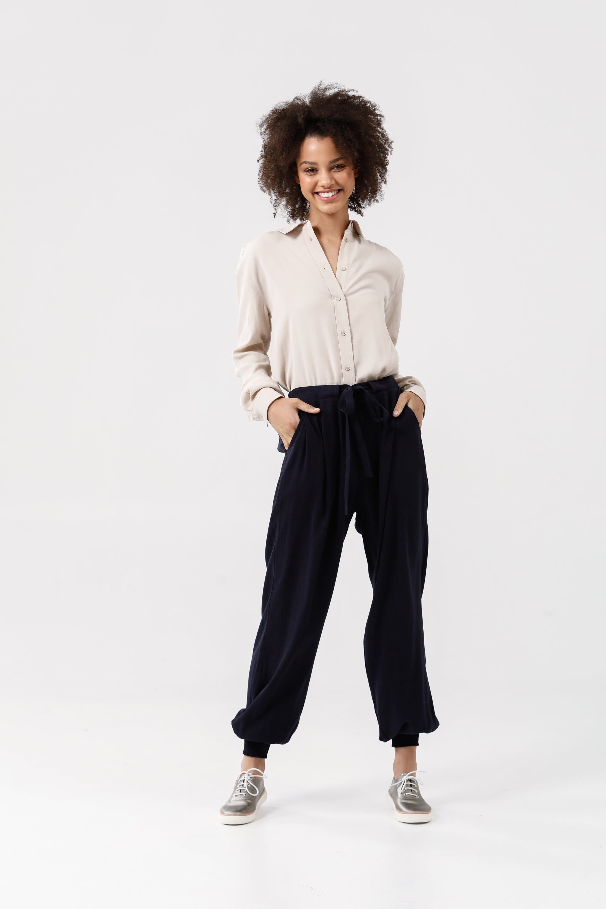 Fossick Pants in Navy Tencel