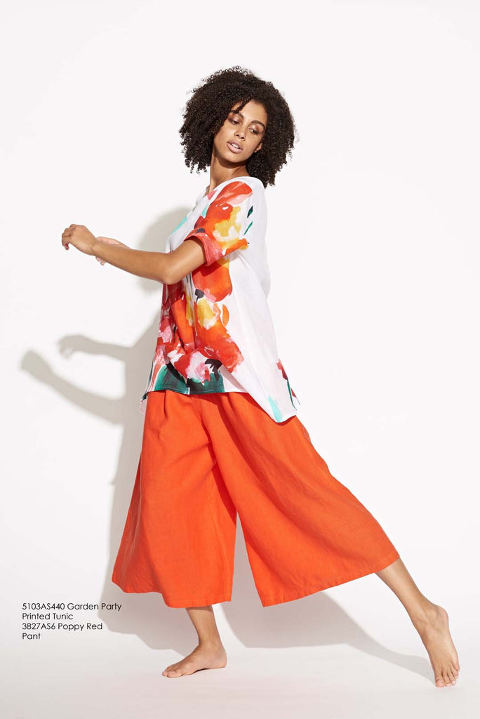 Wide Leg Culotte Pant in Garden Party Poppy