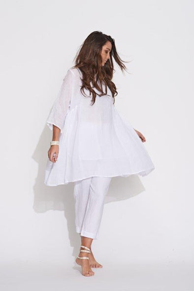 Gathered Side Tunic - White