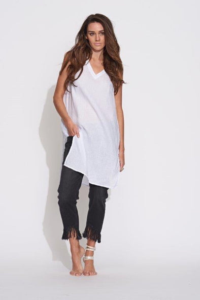V-Neck Split Tunic - White