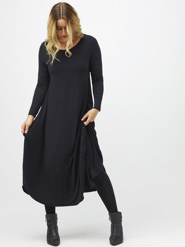 Long Sleeve Tri Dress in Black