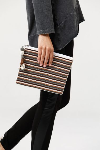 Tones Stripe Clutch in Rust Multi