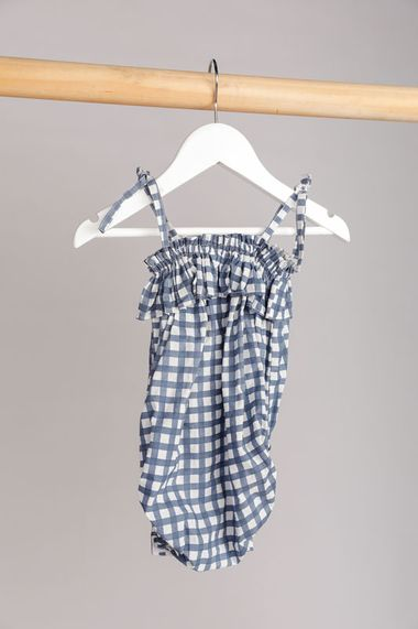 Kaya Romper Blue Check