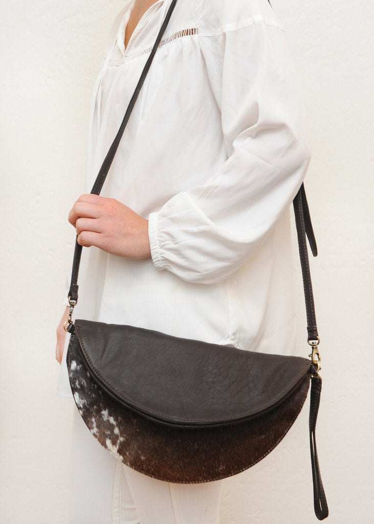 Brown & Cow Hide Reversible Round Bag / Clutch