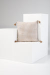 Gingham Tassel Cushion in Natural