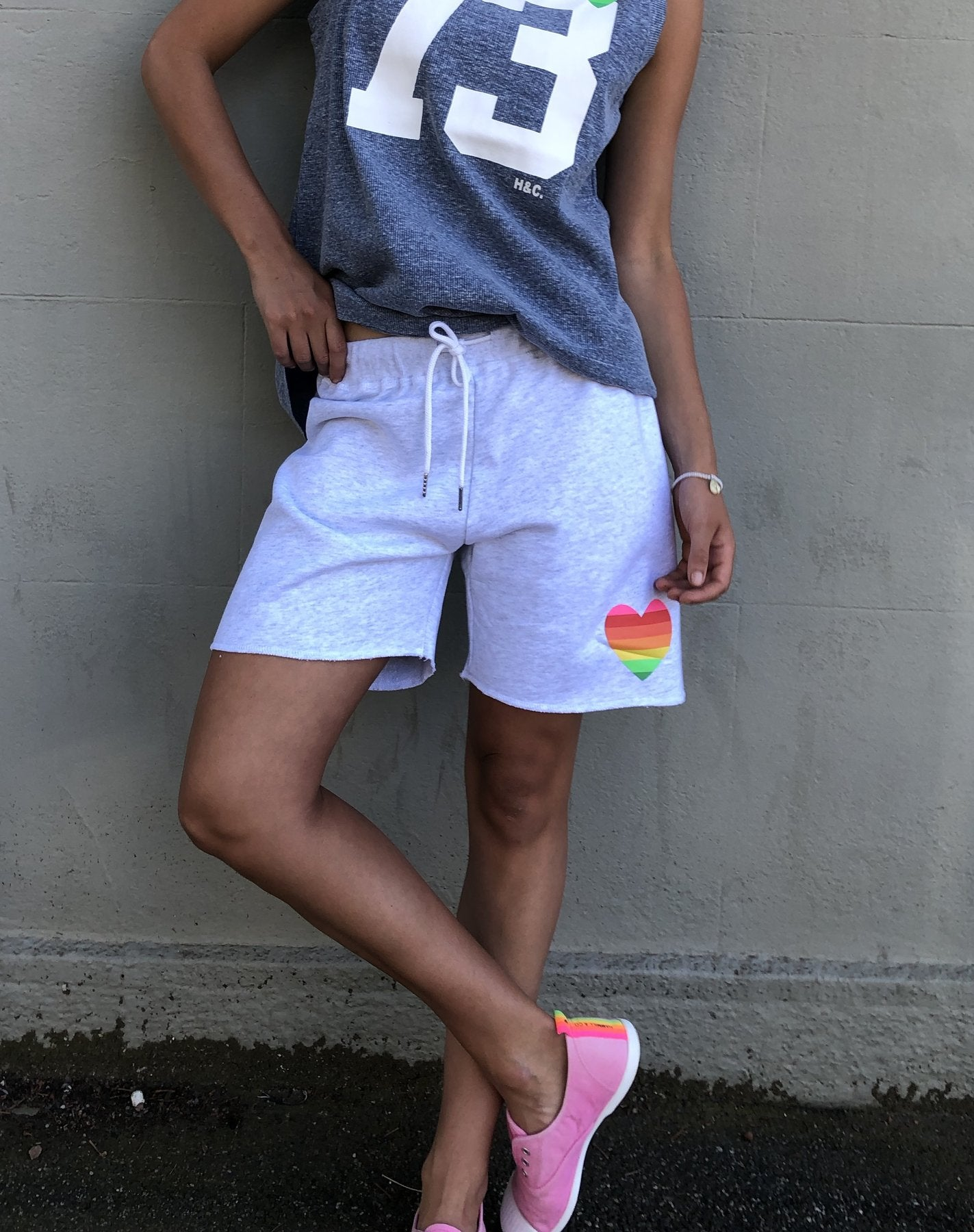 Lite Grey Retro Track Shorts