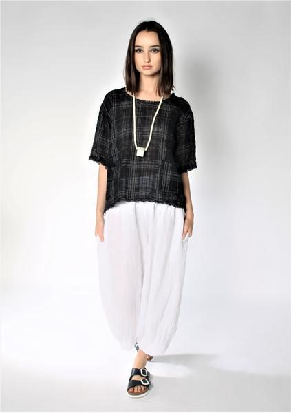 Raw Edge Linen Top - Black/White Check