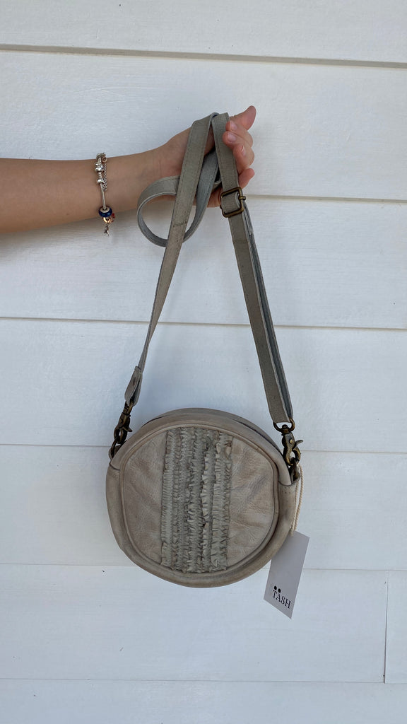 Ruffle Round Crossbody Bag in Grey