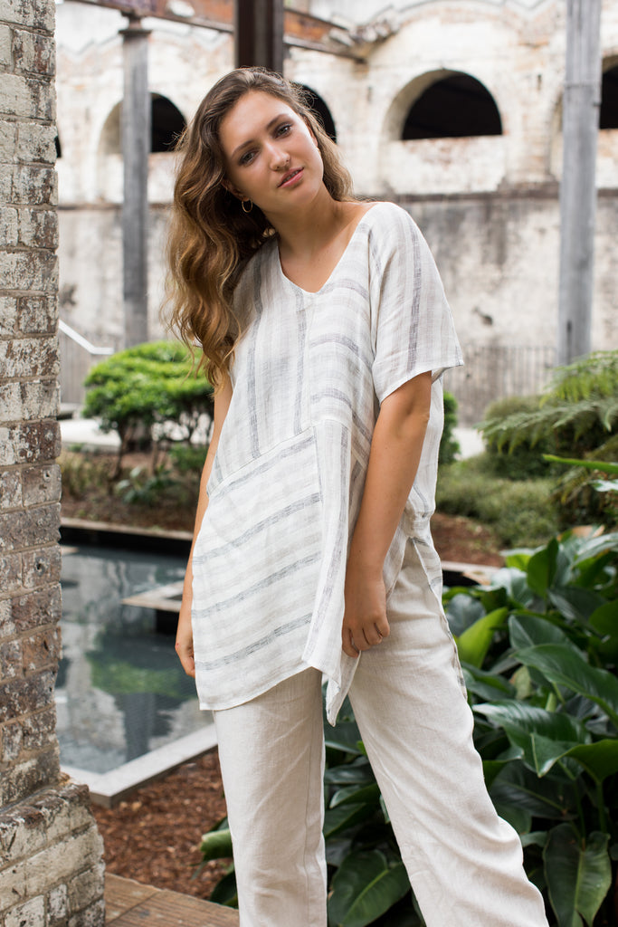 V-Neck Linen Tunic - Capri Stripe