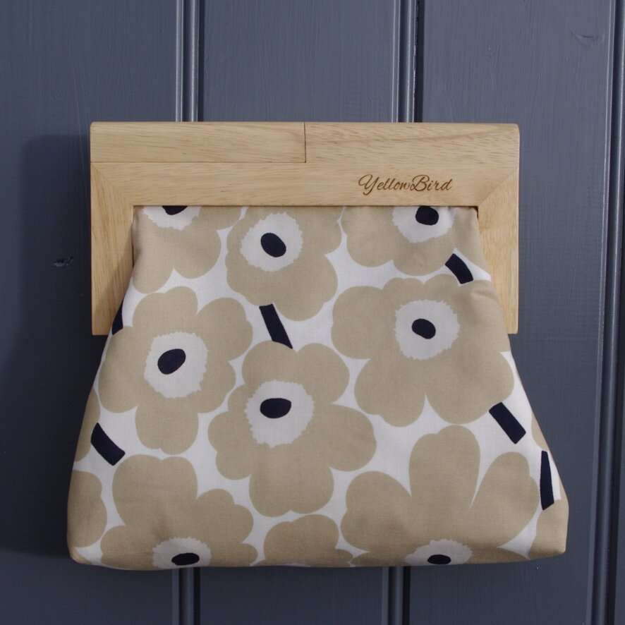"Marimekko's Unikko Fawn (Medium) Natural Frame ""Evelyn Clutch"""