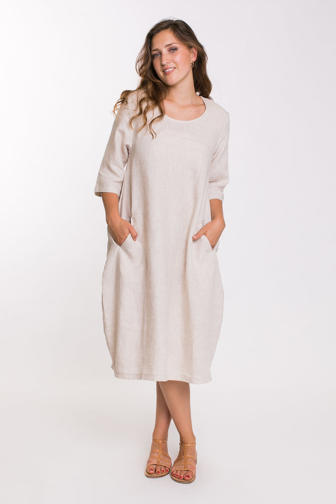 3/4 Sleeve Pocket Dress - Natural