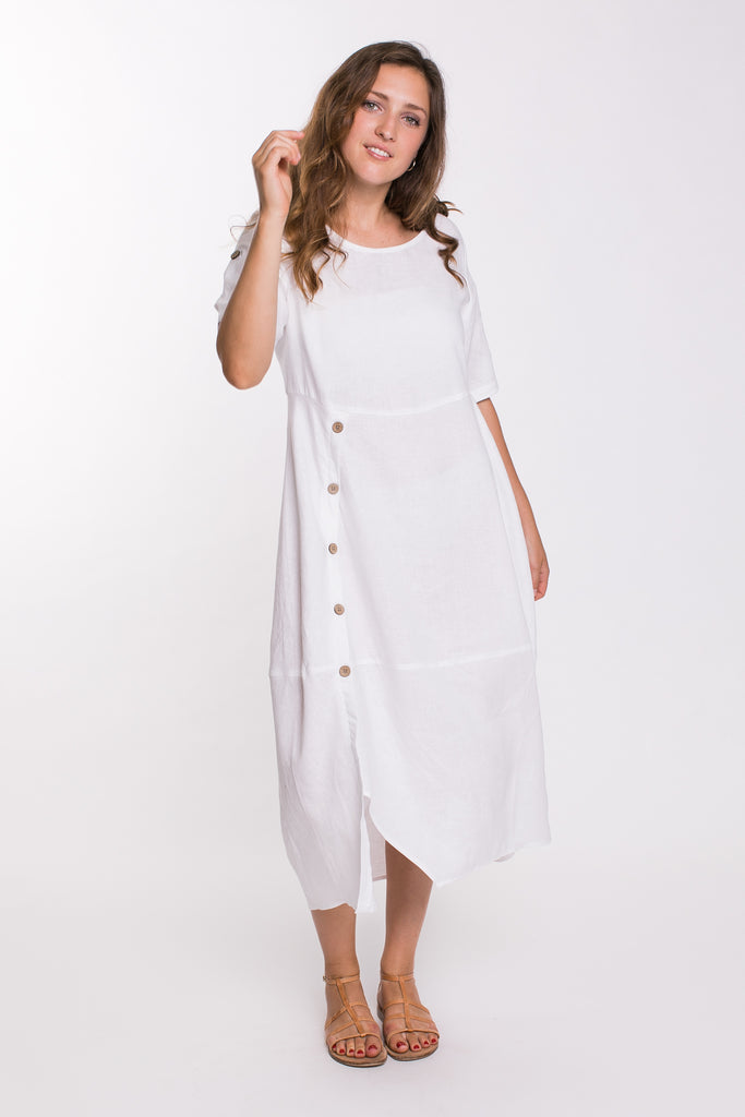 Buttoned Panel Dress - White