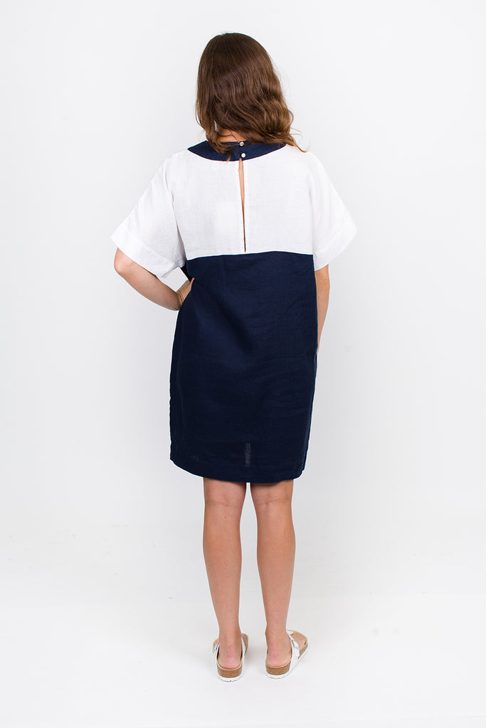 Navy and White Linen Dress