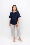 Frill Sleeve Top in Dark Navy