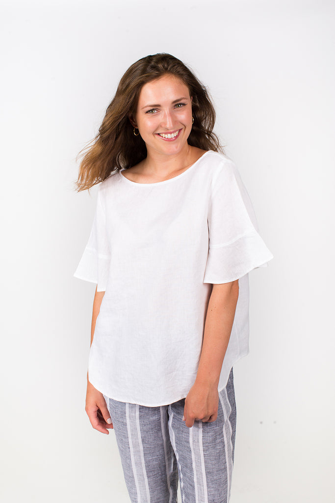 Frill Sleeve Top in White