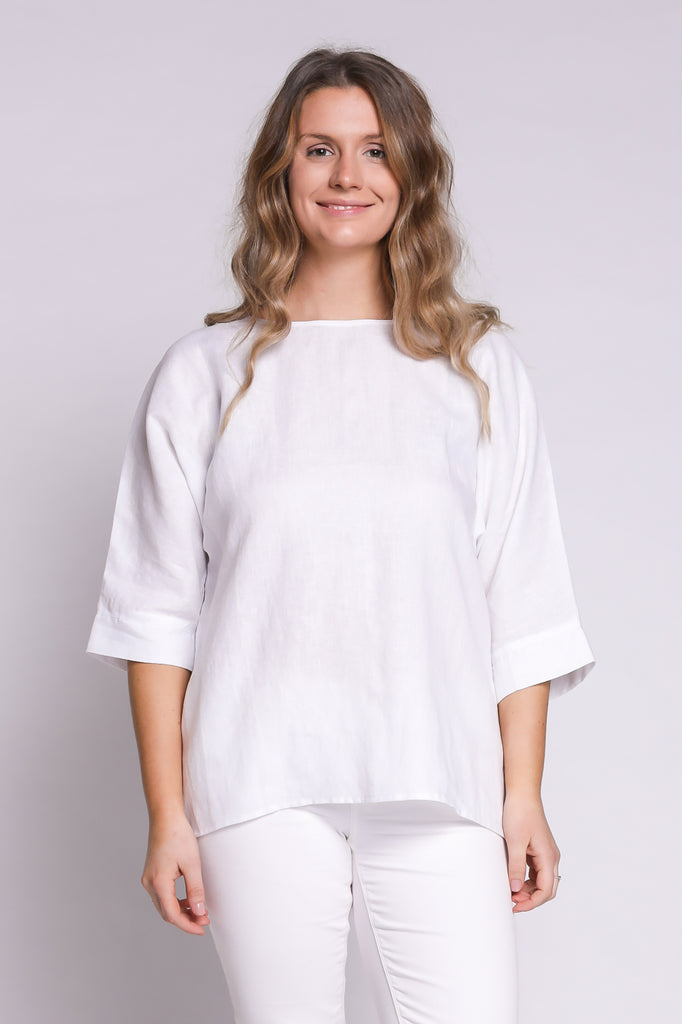Round Neck Linen Top in White