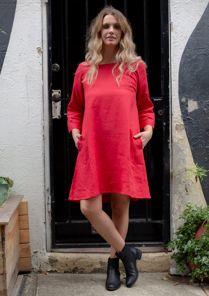 Linen Tunic Dress in Red