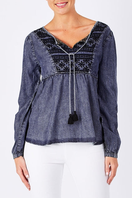 Boho Denim Embroidered Top