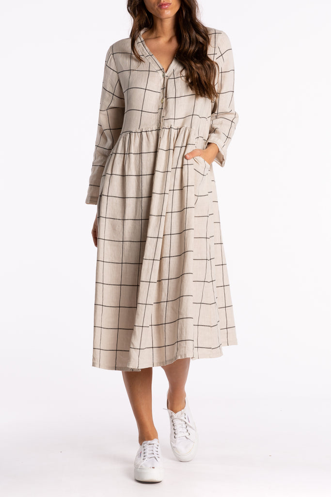Button Up Dress in Black/Natural Check