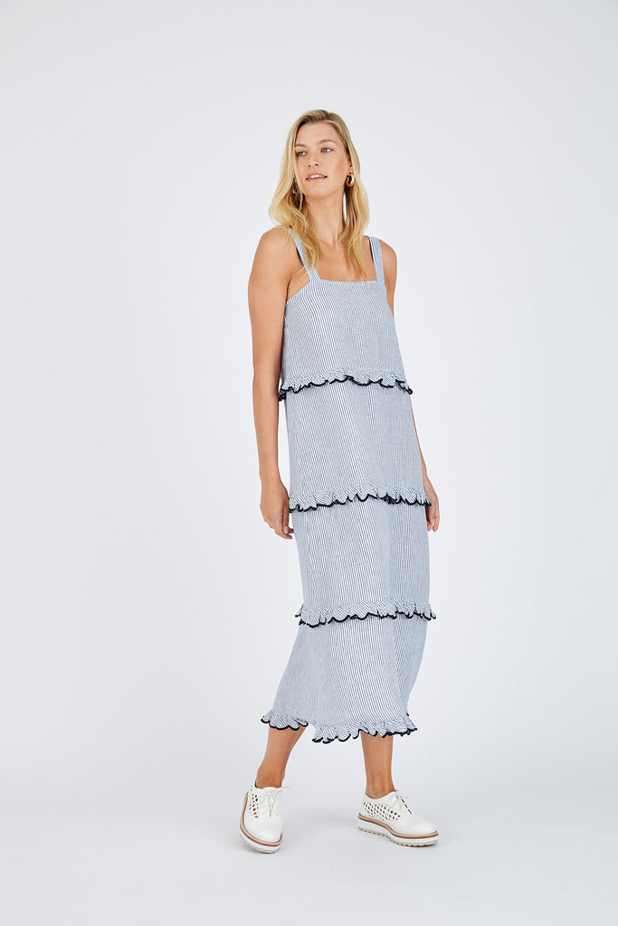 Pre - Order Clementine Maxi Dress in Navy Stripe