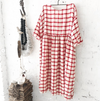 Sarah Linen Dress in Red & White Grid
