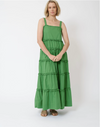 Margarita Maxi Cotton Poplin Dress in Emerald