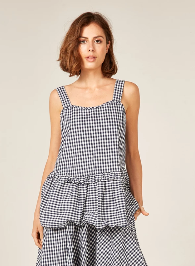 Byron Sunsets Tank in Navy Gingham