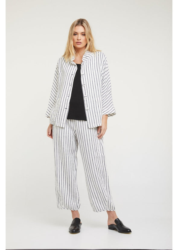 Hudson Jacket - White with Navy Stripes