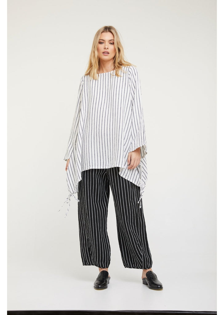 Bonfire Tunic - White with Navy Stripe