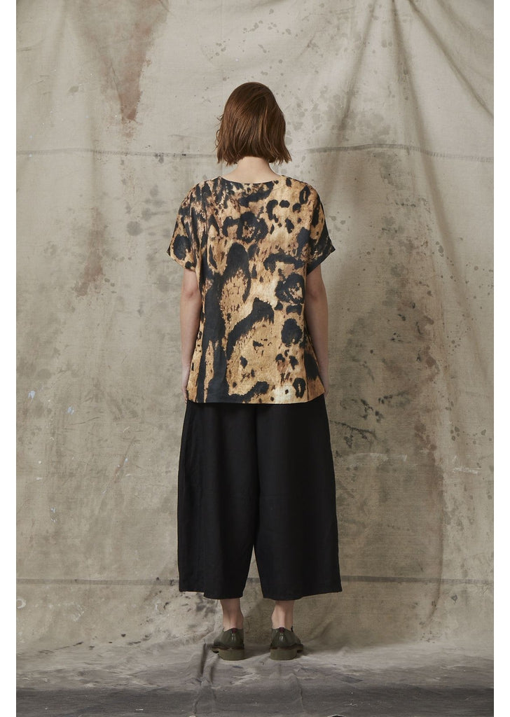 Print Linen Top in Leopard