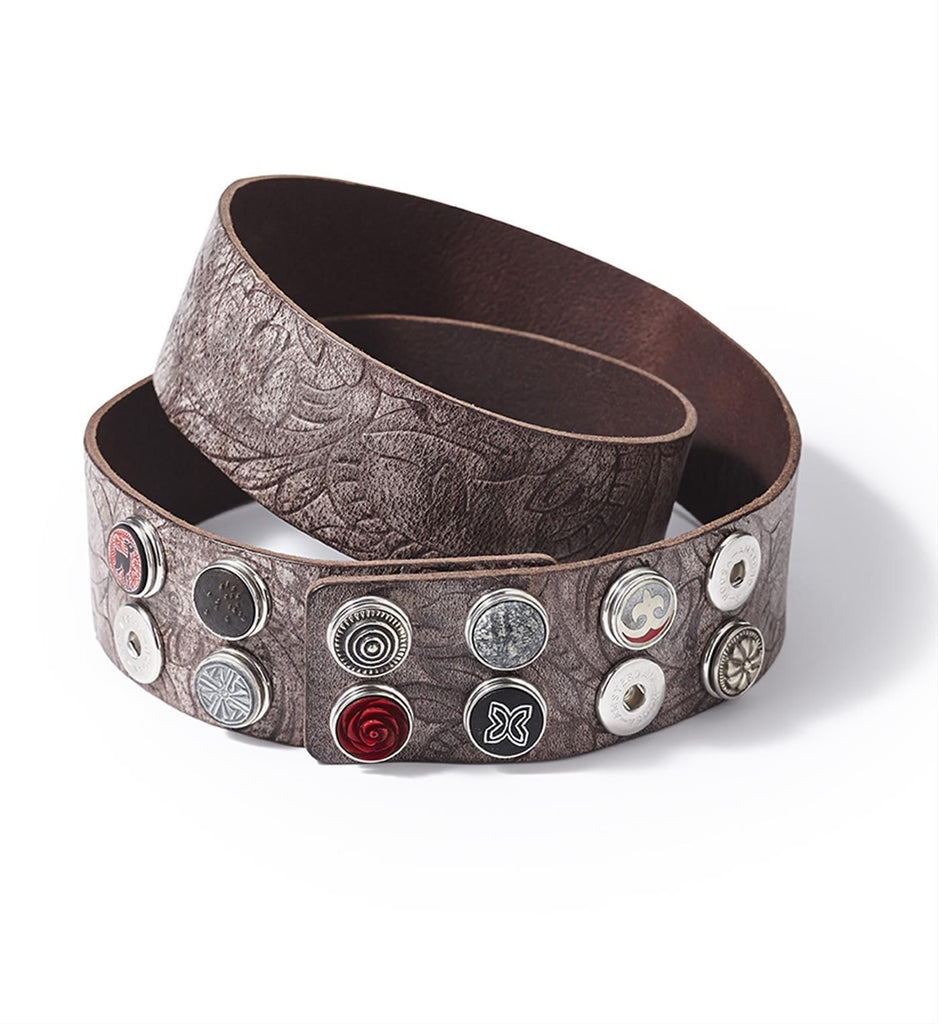NOOSA AMSTERDAM WIDE BELT EMBOSSED - CHOCOLATE BROWN