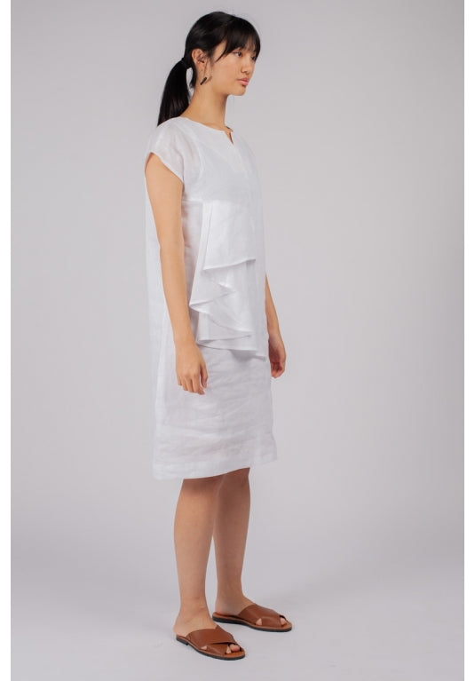 Fuzuki Fold Dress in White