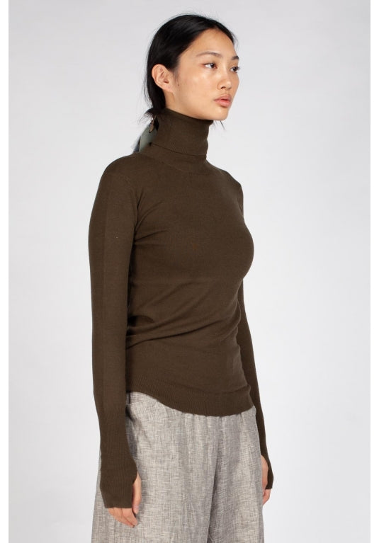 Omega High Neck Top in Khaki