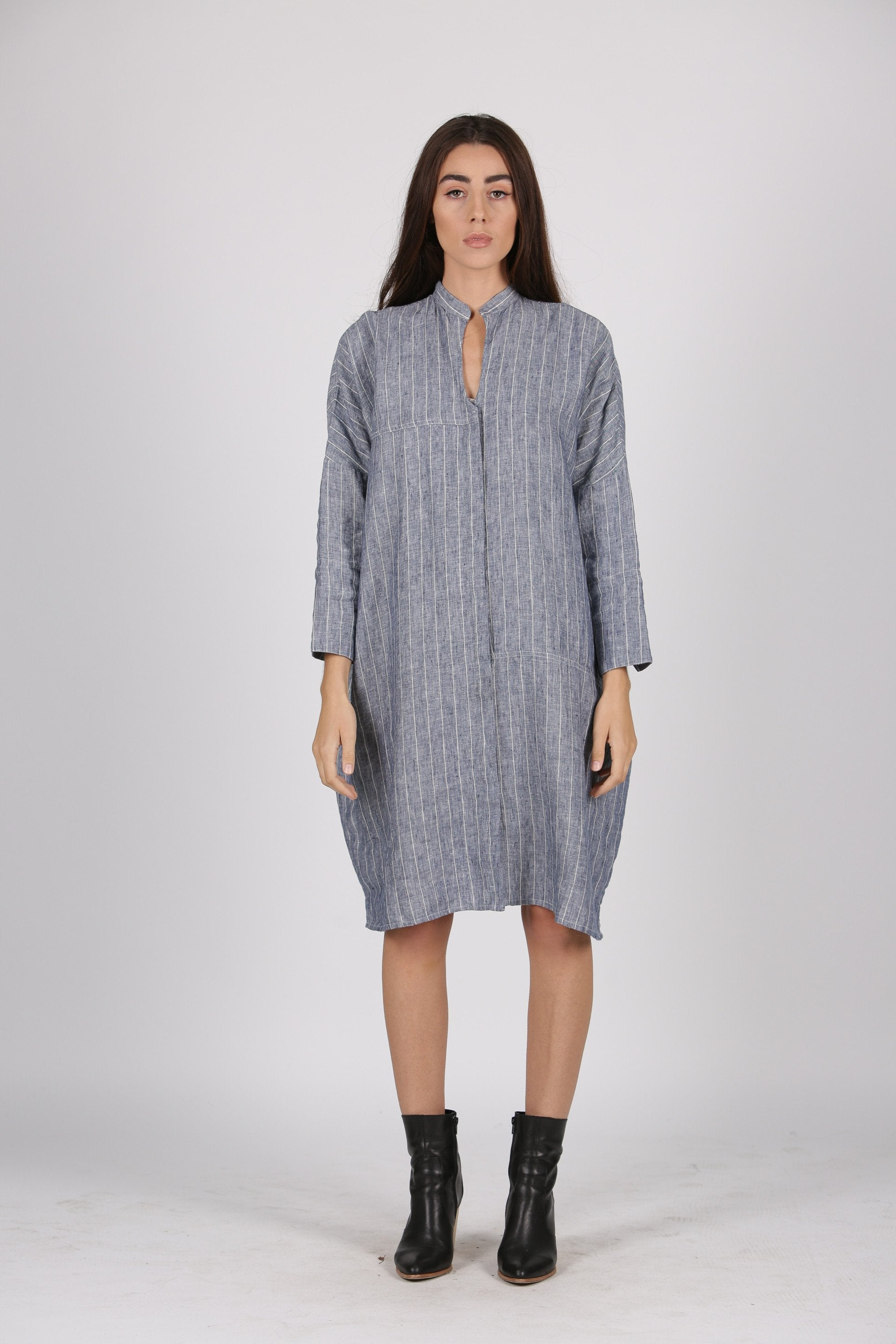Zahra Dress in Chambray Stripe