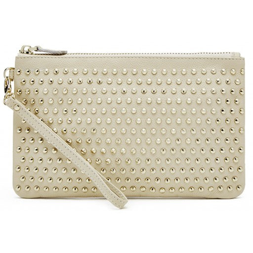 Mighty Purse Wristlet - Cream with Gold Studs