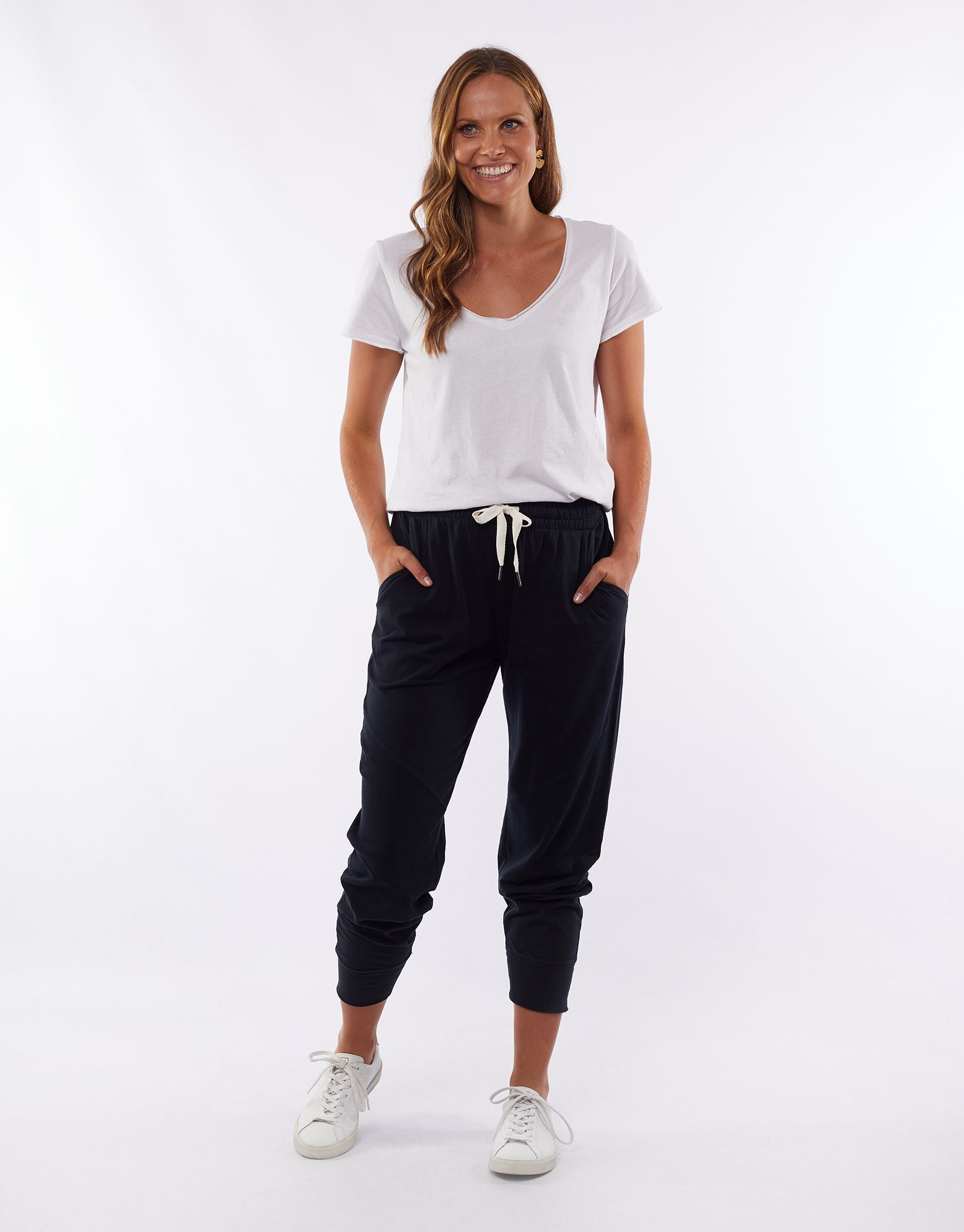 Rib Trim Pant in Black
