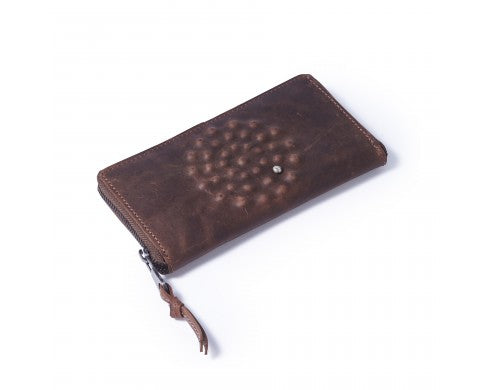 Divali Printed Wallet in Mid Brown