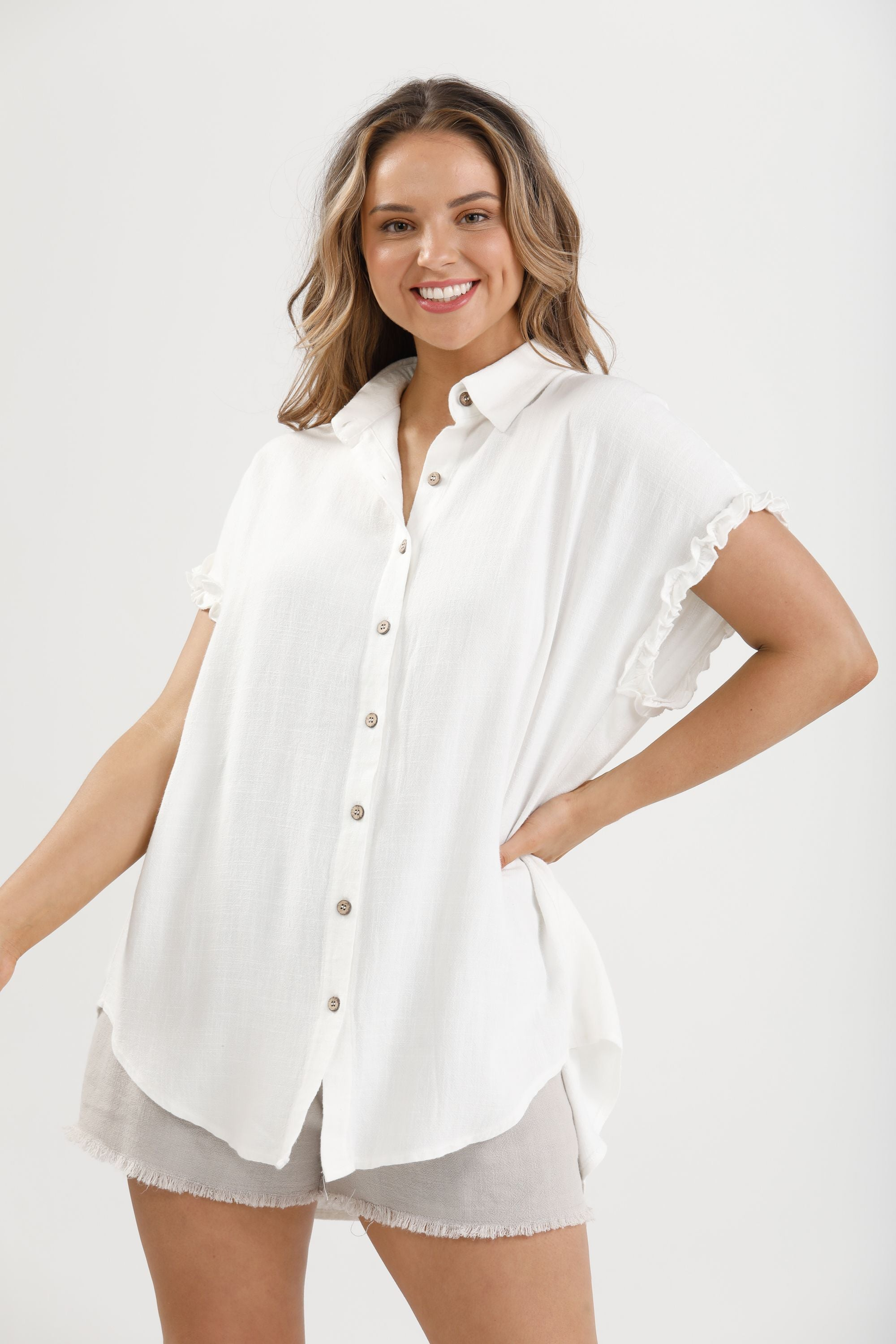 Sunshine Shirt in White - Linen Viscose