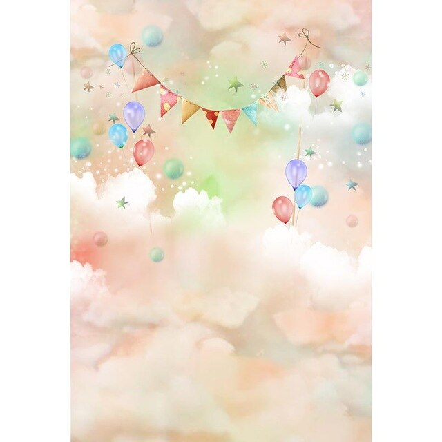 Clouds Background Photo Session Flag Balloons Photophone Backdrop - Celehomey