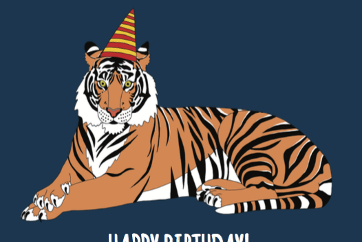 Rp Tiger Birthday Card Red Parka Wholesale