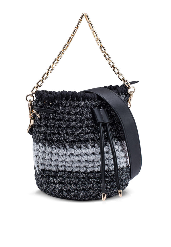 Crochet Drawstring Shimmer Bucket Bag
