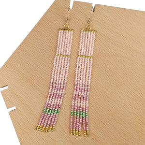 Long Beaded Tassel Earrings